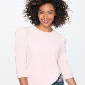 Eloquii Dramatic Puff Sleeve Tee in Pink, Size 16W